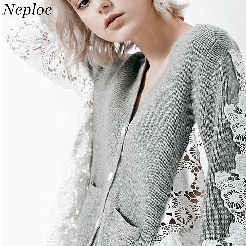Sweaters Learned Neploe Lace Patchwork Hollow Out Women Cardigans V-neck Single Breasted Feamle Open Stich 2019 Auttum New Vintage Sweater 68760