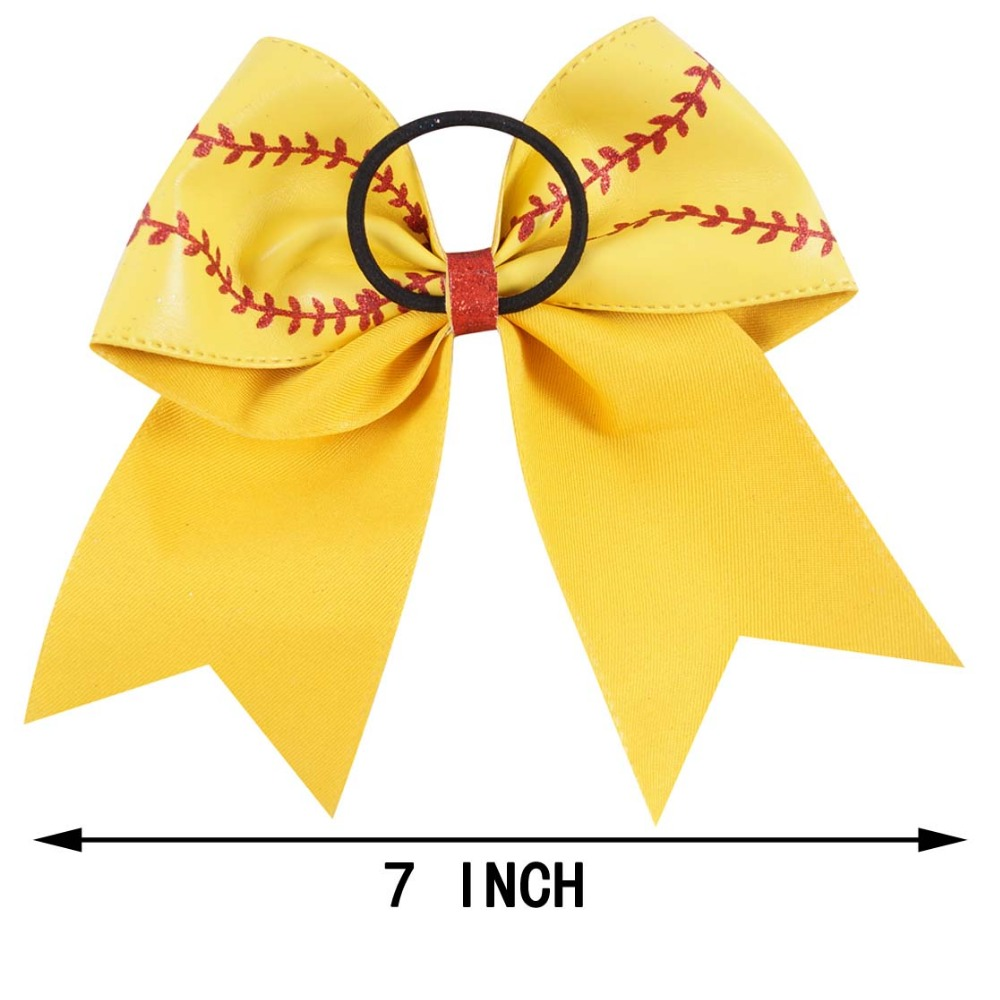 "Image 2 - 7"" Baseball Leather Cheer Bow With Rubber Band For Girls Kids Handmade Softball Glitter Cheerleading Bow Hair Accessories 10 Pcscheer bowshair tiesbow hair tie -"