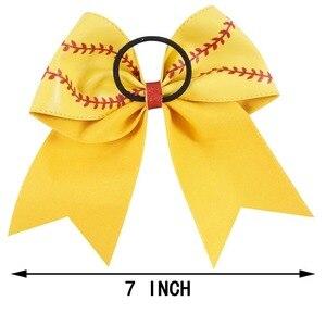 """Image 2 - 7 """"Baseball skórzana Cheer Bow z gumką dla dziewczynek dzieci Handmade Softball brokat cheerleaderek łuk akcesoria do włosów 10 sztuk"""