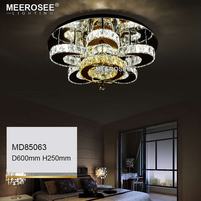 HTB1q4VAeqAoBKNjSZSyq6yHAVXag Luxury Flower Shape Crystal Chandeliers Lighting Fixtures Round lustres Living Room Hotel Lamp LED Light Flush Mounted