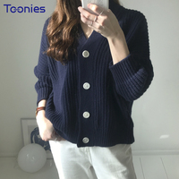 Spring New Arrival Korean Vintage Cardigan Sweater Women Single Breasted Cardigans Female Knitted V Neck Womens