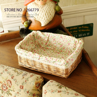 Pastoral style Wicker + cotton storage basket,wicker storage basket,warm and lovely storage basket, Home Furnishing ornaments