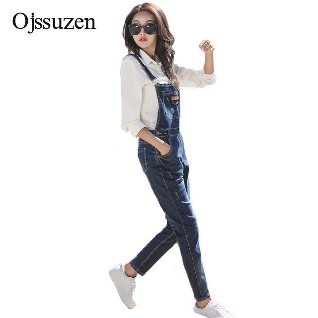 f3f3270d2b91 2018 Fashion Denim Jumpsuit For Women Overall Jeans Rompers Pants Long Overalls  Ladies Jeans Female Jumpsuit Summer
