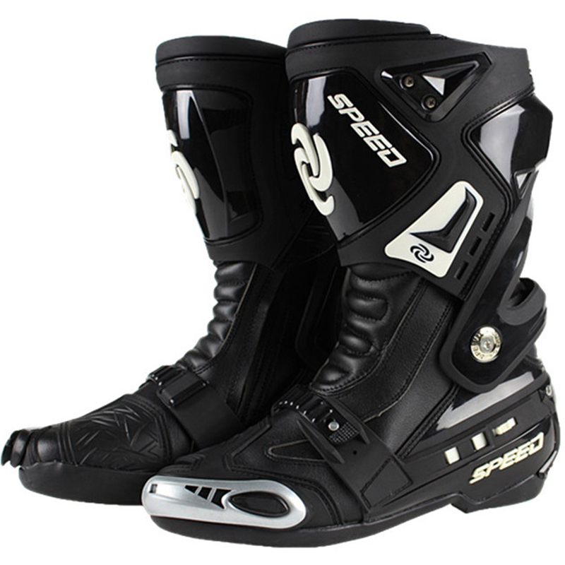 New Motorcycle Boots Pro biker SPEED road racing Bikers Leather cycling motocross Long knee high font