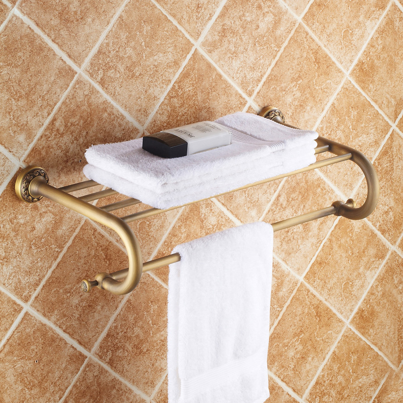 ФОТО High Quality European Style Antique Brass Bathroom Towel Holder Wall Mounted Towel Rack Towel Holder Bathroom Accessories