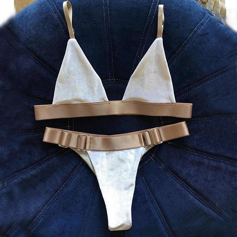 546557aa46ada Белый бархат с золотой пояс металлические пуговицы микро бикини Biqunis 2019  купальник с рюшами для женщин