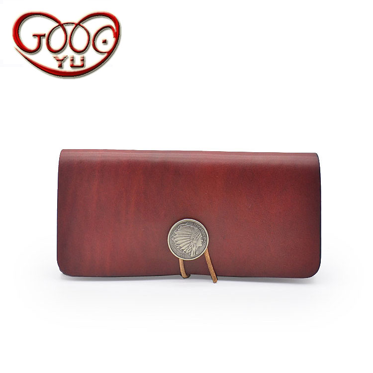 Handmade vegetable tanned leather first layer leather storage bag Japanese original retro leather two-fold hand holding long wal