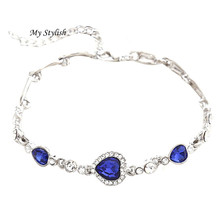 My Stylish Women Ocean Blue Crystal Rhinestone Heart Bangle Bracelet Nov 2