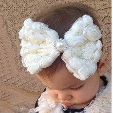 TWDVS Kids Newborn Big Bow knot Flower Hair Band Girls Kids Elastic Flower Hair Accessories Pearl Flower Headband W088