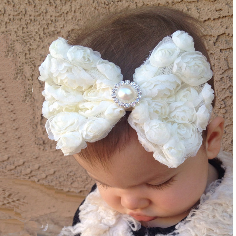 TWDVS Bambini Newborn Big Bow nodo Flower Hair Band Ragazze Kids Elastic Flower Accessori per capelli Pearl Flower W088
