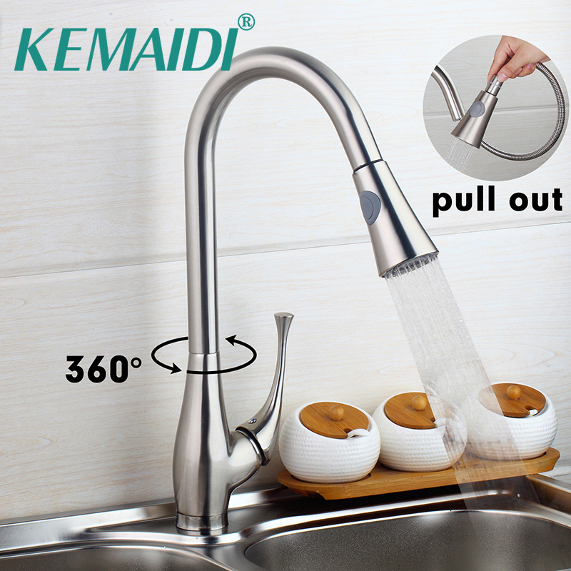 KEMAIDI Brushed Nickel Pull Out Tap Kitchen Sink Mixers Tap Kitchen Pull Out Faucets Touch Faucet Deck Mounted Single Handle стоимость