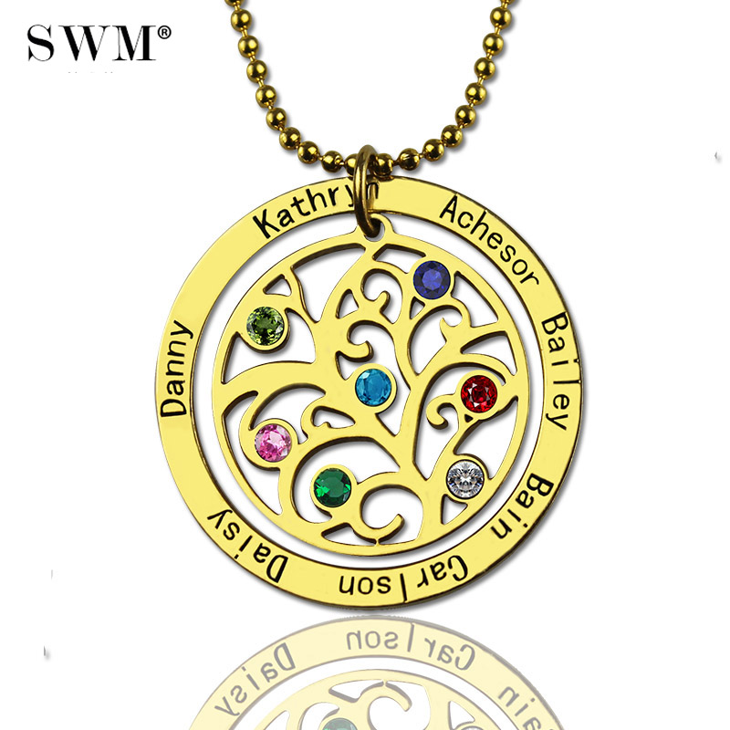 Women's Gold Necklace Custom Name Engraved Stone Necklaces Vintage Jewelry Chain Family Tree of Life Pendant Gift for Grandma цены онлайн