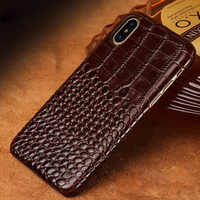 Genuine cowhide Leather Phone Case For iPhone X XS XS MAX XR SE 5 5S 6 6S 7 8 Plus Crocodile Texture All handmade Back cover