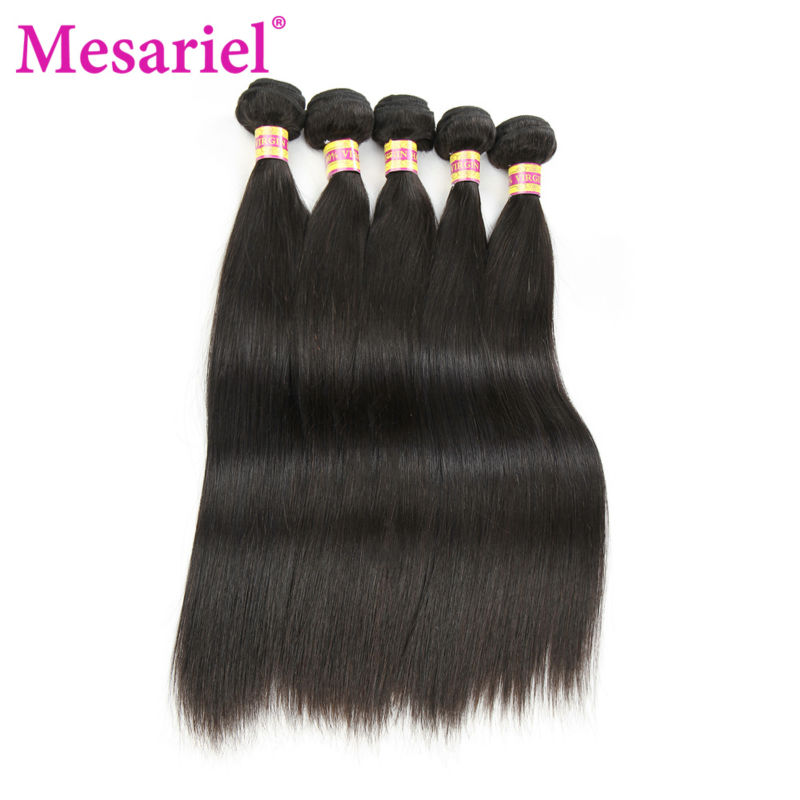 Mesariel Brazilian Straight Hair Weave Bundles 8-30 inches 100% Human Hair Extensions 5 pc Non-Remy Hair Bundles Natural Color