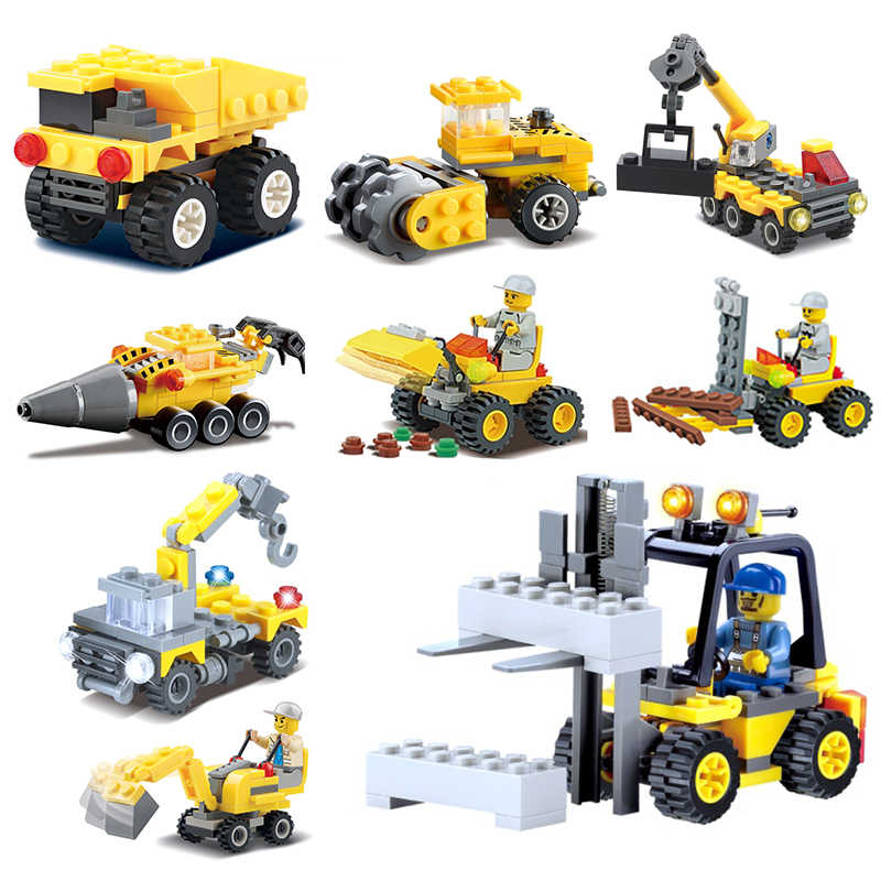 KAZI Mini Series Compatible legoed forklift city vehicles excavator sets  forest Tractor Engineering Crane childreb toys bricks