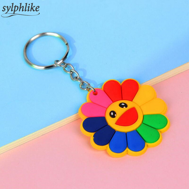 Cartoon Colorful Sunflower Key Chain Anime Smiling Symbol Keyring