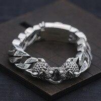 S925 Sterling Silver Bracelet & Bangle Double Leopard Head Thai Silver Bracelet 10mm Male Curb Chain Punk Rock Bracelet