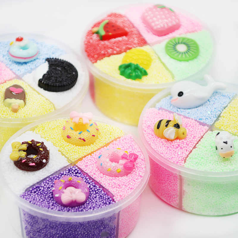 Biscuit Fruit Animal Donut Unmixed Ball Clay DIY Snow Rice Mud Slime Crystal Mud Slime Toy Snowflake Mud Relax Toy for Kids Gift