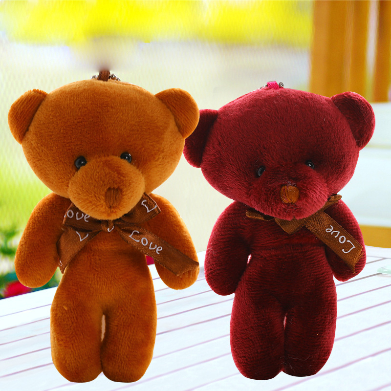 1Pcs 12cm lovely mini Bear Plush Toys four color optional Handbags, satchels, backpacks, wallets, car key chain accessories