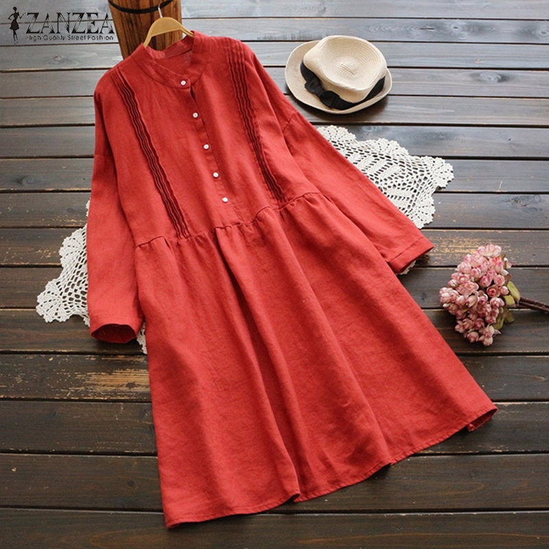 ZANZEA 2018 Autumn Elegant OL Pleated Long Shirts Dress Women Casual Stand Collar Long Sleeve Solid Cotton Linen Loose Vestido