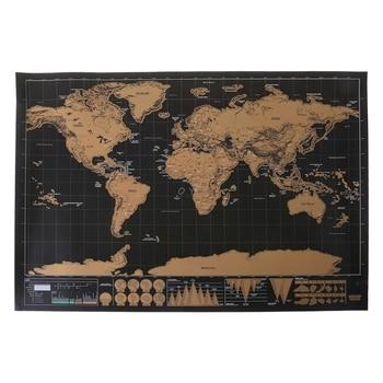 Deluxe Wissen Zwart World Map krassen Wereldkaart Gepersonaliseerde Reizen Scratch voor Kaart Kamer Woondecoratie Muurstickers