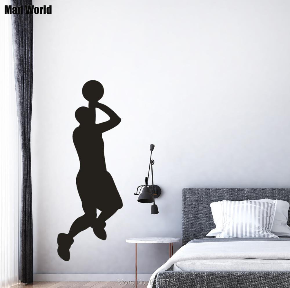 Mad World-Jump Basketball Player Silhouette Wall Art Stickers Wall Decal Home DIY Decoration Removable Room Decor Wall Stickers image
