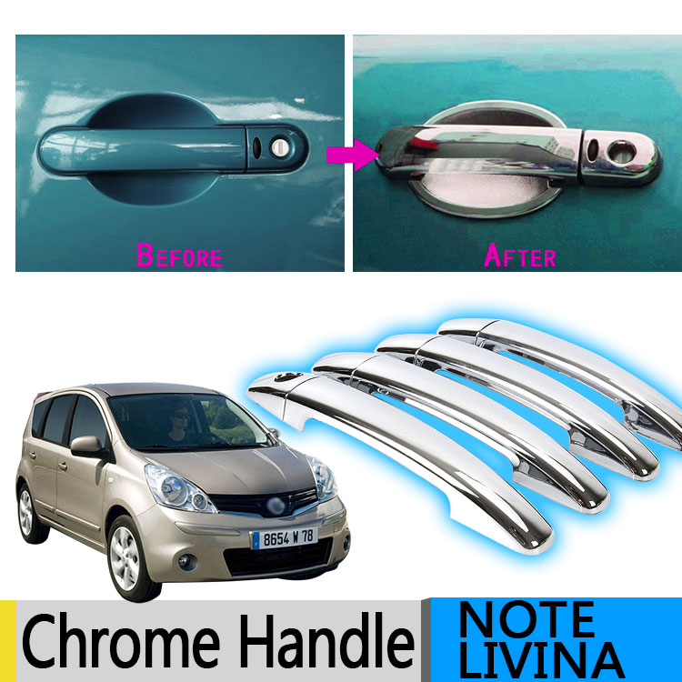 Chrome Side Mirror Smart Door Handle Trims For 2015-2017 Nissan Juke Hatchback