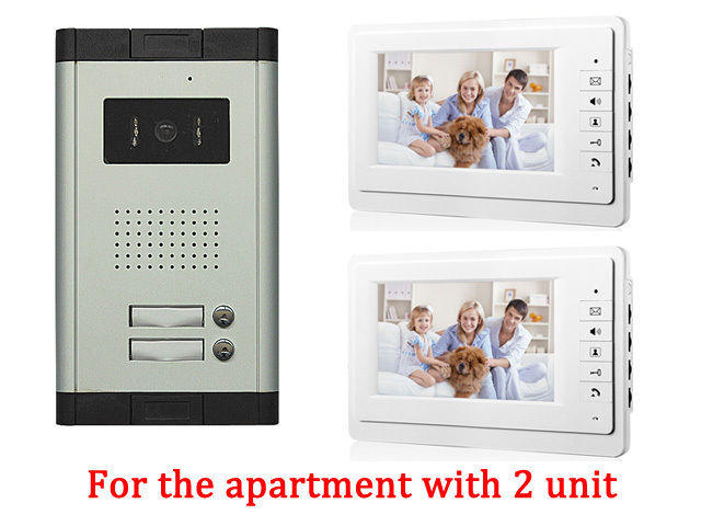 New 7 Video Intercom Apartment Door Phone System 2 White Monitors 1 HD Camera for 2 Household 2 Unit Apartment Intercom