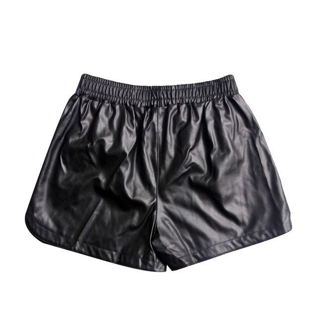 510b5032e21087 Donna Mode Frauen Faux Leder Shorts Vintage Elastische Taille Schlank Sexy  Schwarz PU Leder Kurze Hosen