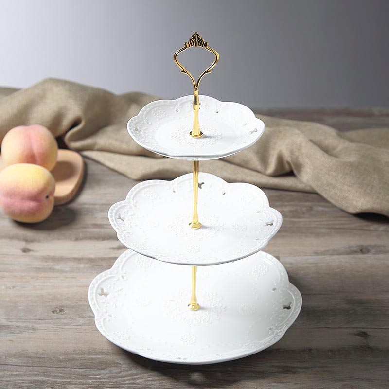 5pcs 3 Tier Cake Plate Stand Stainless Steel Cupcake Fruit Holder & Cake Plate Decoration - Home Decorating Ideas