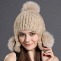 Real  Mink Fur Hats Women Cap Warm Natural mink Fur Earmuffs Winter Beanies 100% Natural Fur Adult Women Casual Solid with ball