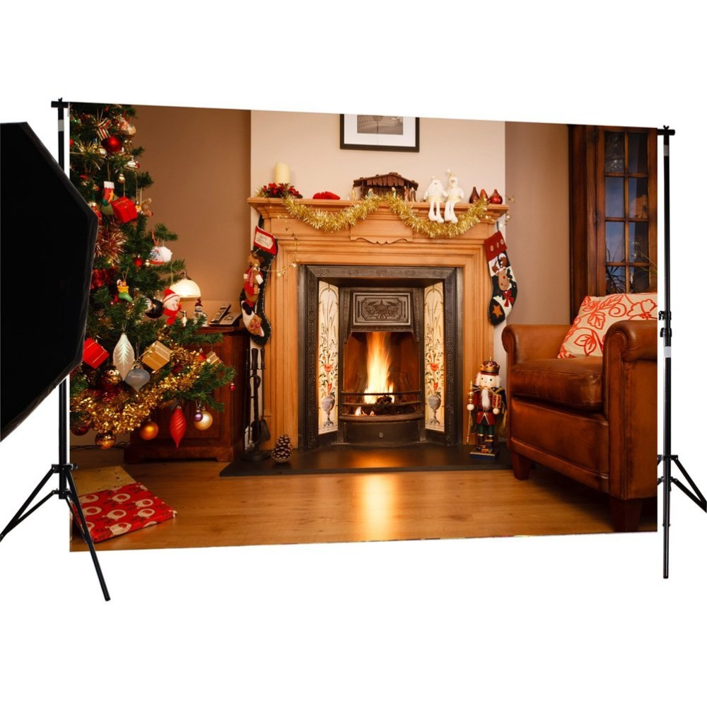 Capisco Christmas background pictures vinyl Tree fireplace with gift child photocall new Year decoration photo studio backdrop