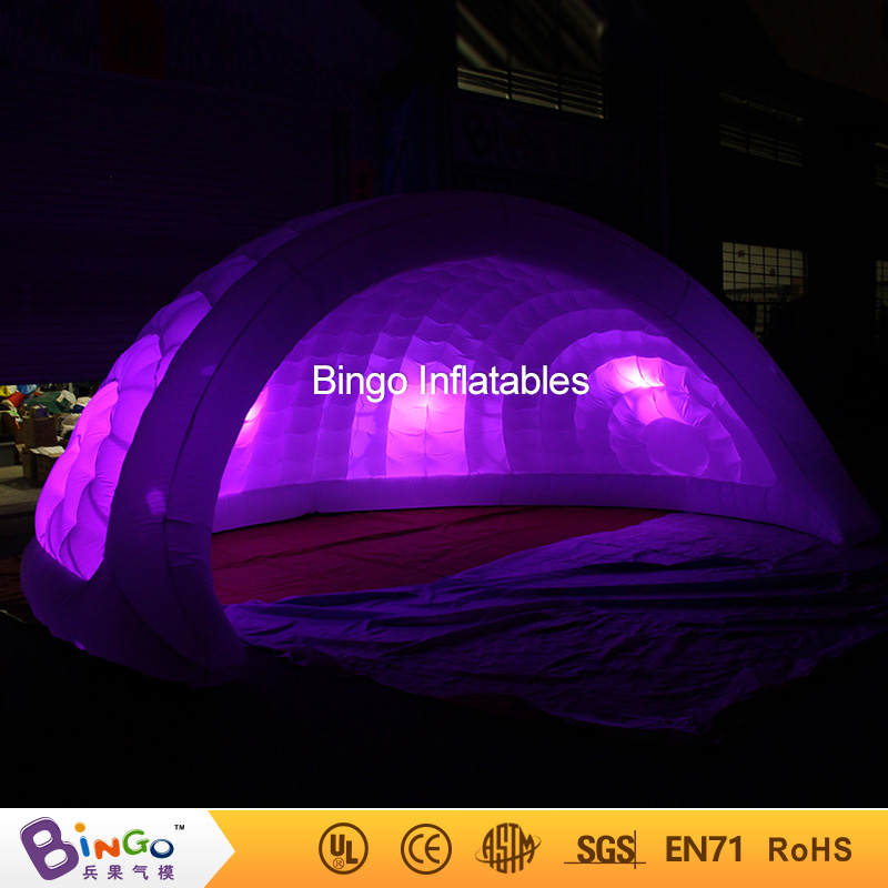 все цены на Free Shipping 5m inflatable igloo dome bar tent with LED lighting bulbs hot sale inflatable amusement toy tent