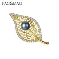 PAG et MAG Marque Feuille Forme Perle D'eau Douce 8-8.5mm Naturel Rose/Gris/Noir Perle Broche broches pour Femmes Cadeau Boîte Livraison En Gros