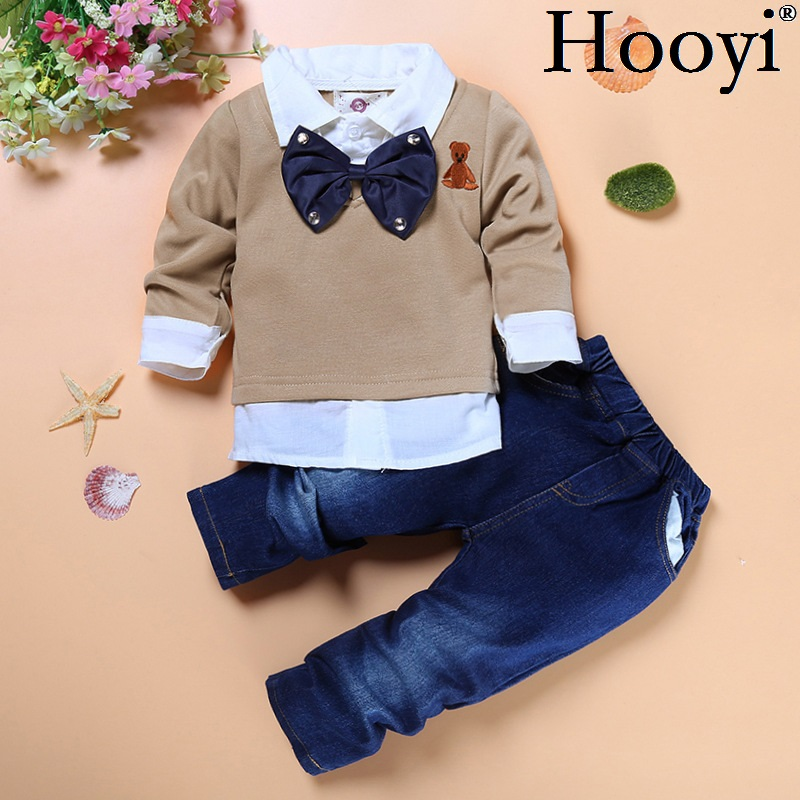 Hooyi Gentleman Baby Boys Clothes Suits Children Fashion 2-Pieces Set Kids Shirt + Jean Boy Outfits Big Bow Tie T-Shirts Trouser 2015 fashion baby spring three pieces suits korean printed cardigan shirts