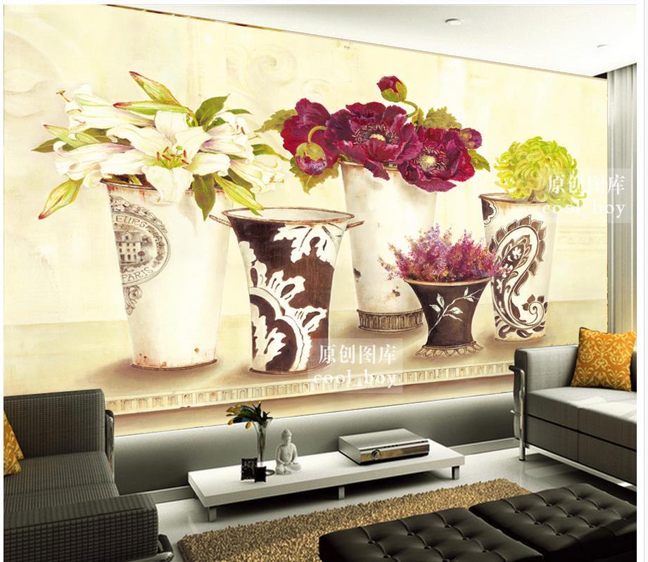 Décoration de la maison 3d stéréoscopique papier peint américain rétro floral vase bureau définit Art personnalisé 3d photo papier peint