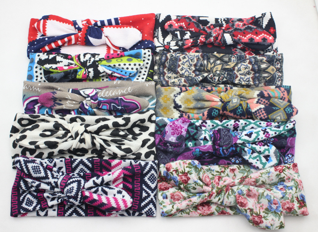 1 stks Leuke Zachte Baby Kids Meisjes Print Bloem Haarband Stretch - Babykleding
