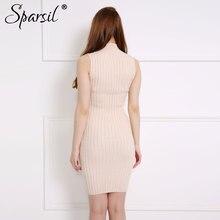 Sparsil Women's Spring Mid-Turtleneck Sleeveless Cashmere Blend Knitted Dress Elegant Slim Knee-Length Dresses