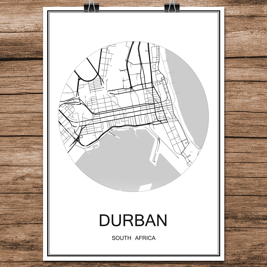 <font><b>DURBAN</b></font> South Africa Famous World City Street Map Print Poster Abstract Coated Paper Cafe Living Room Home Decor Wall Sticker image