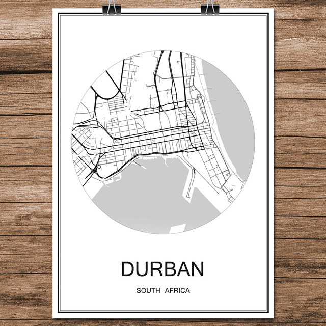 Durban south africa famous world city street map print poster abstract coated paper cafe living room
