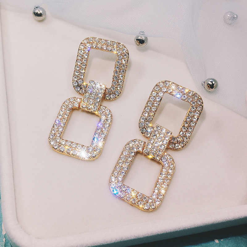 FYUAN Fashion Shining Big Geometric Drop Earrings Luxury Gold Silver Color Square Rhinestone Earring Women Party Jewelry Gift