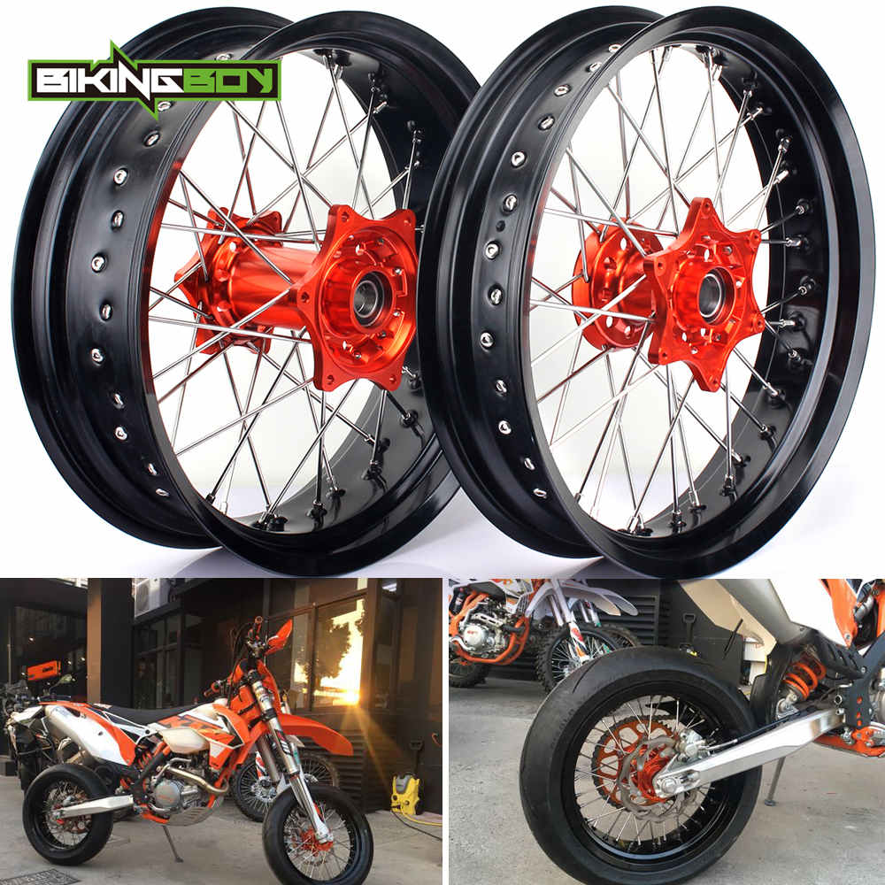 3.5*17 5.0*17 Front Rear MX Supermoto Orange Wheels Rims Hub for KTM SX MXC XC GS SXS EXC XCW EXCF SXSF XCG 125-540 HUSABERG3.5*17 5.0*17 Front Rear MX Supermoto Orange Wheels Rims Hub for KTM SX MXC XC GS SXS EXC XCW EXCF SXSF XCG 125-540 HUSABERG