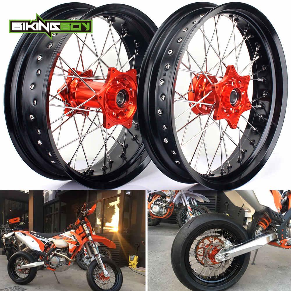 3.5*17 5.0*17 Front Rear MX Supermoto Orange Wheels Rims Hub for KTM SX MXC XC GS SXS EXC XCW EXCF SXSF XCG 125 540 HUSABERG
