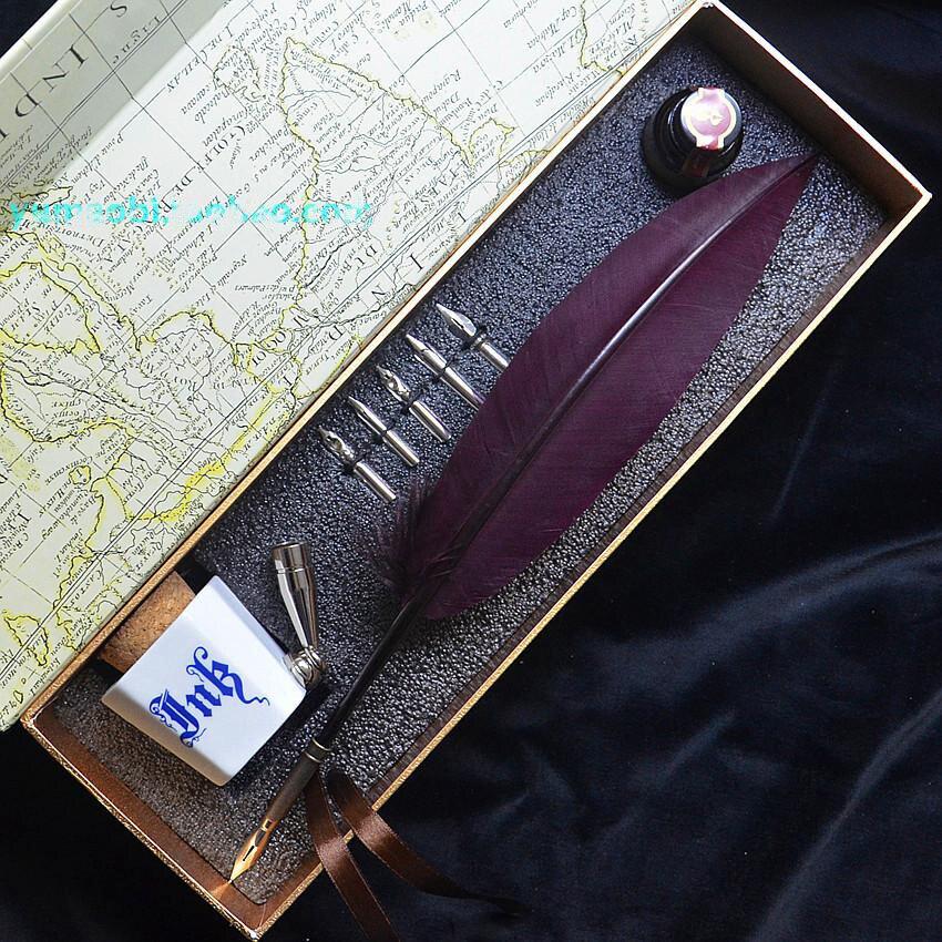 Offre spéciale plume naturelle plume stylo Vintage avec boîte cadeau 5 plumes 1 encre 1 porte-stylo