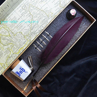 Hot Sale Natural Feather Fountain Vintage Pen With Gift Box 5 Nibs 1 Ink 1 Pen