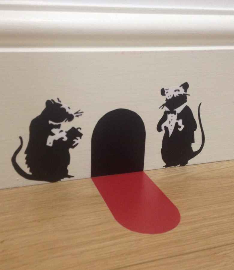 Banksy Waiter Rats Wall Art Sticker with Red Carpet Christmas Stocking Fille