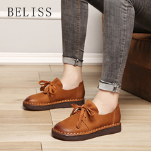 BELISS spring and autumn casual womens flat shoes sneakers handmade leather with sewing women P5