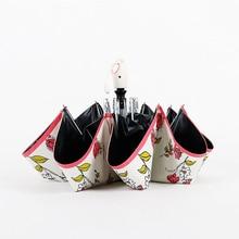 Hot Sale Creative Flowers Painting Umbrella Rain Women Fashion Automatic Folding Female Black Coating Sun