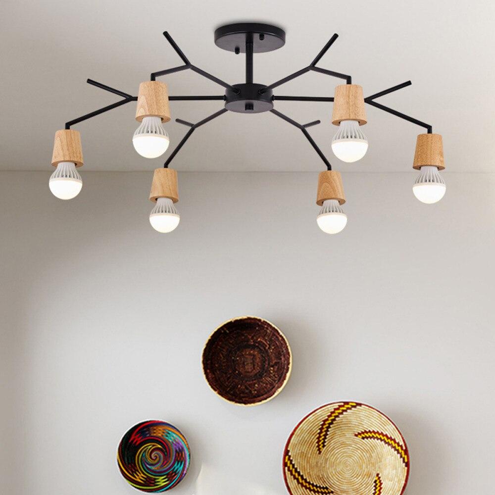 Art Spider Pendant Lamp Edison Bulb Modern Nordic Retro LED E27 Light Vintage Loft Antique wood Home Lighting Living Room Shop