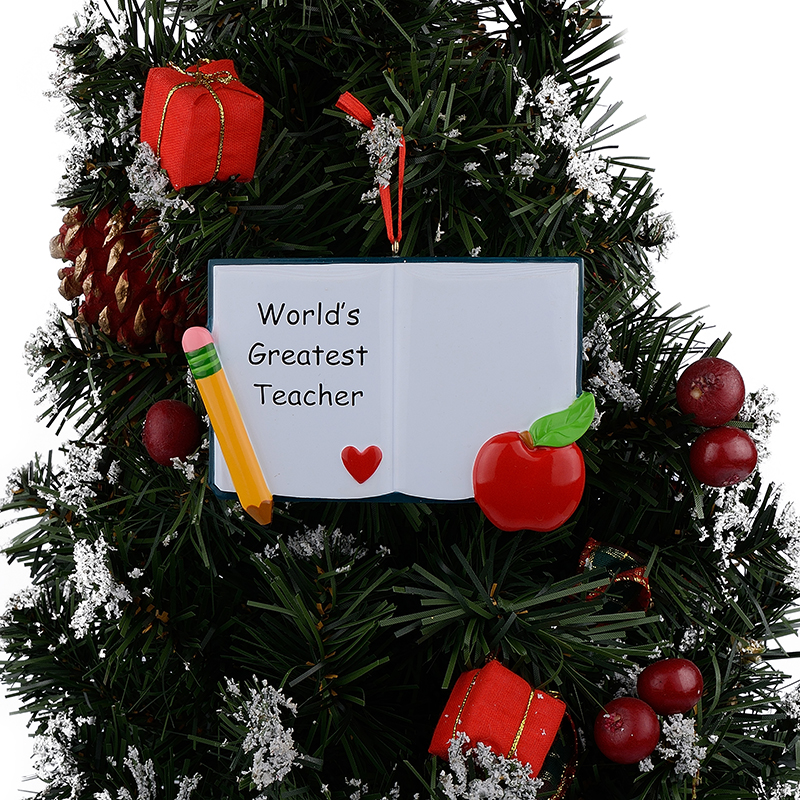 wholesale worlds greatest teacher book personalized polyresin christmas ornaments as for holiday gifts in pendant drop ornaments from home garden on